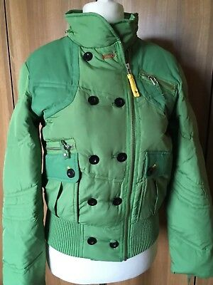 """Green Padded Quilted Jacket BNWT NEXT Zip and Button Tuck Away Hood Sz 14 L23"""""""