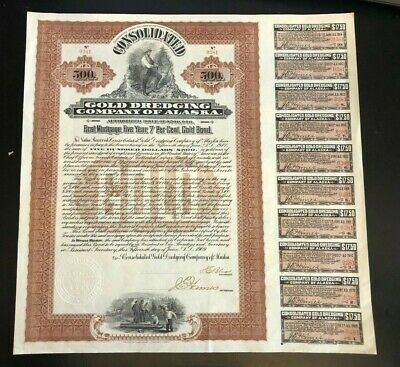 Gold Dredging Company of Alaska 1909 First Mortgage Gold Bond Coupons $500