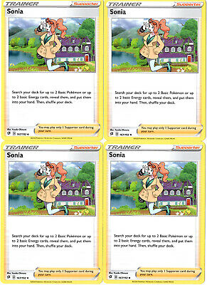 x4 Sonia Uncommon Pokemon SS02 Rebel Clash M//NM 167//192