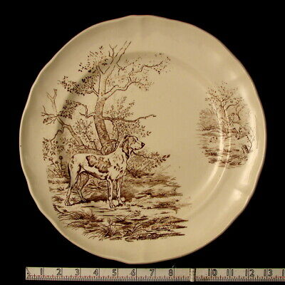 Antique Longchamp French Faience  Hunting Platter of a Pointer. Hunter & Dog