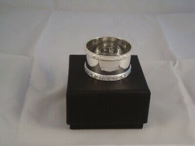 Pair Of Hallmarked Solid Silver Napkin Rings With Celtic Border