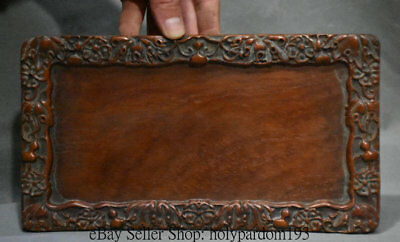 """9"""" Rare Old Chinese Dynasty Palace Wood Hand-Carved Gourd leaf inkstone inkslab"""