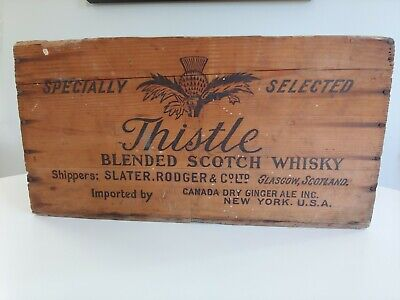 Vintage - Thistle Scotch Whisky - Wood Box / Crate - Canada Dry - Whiskey