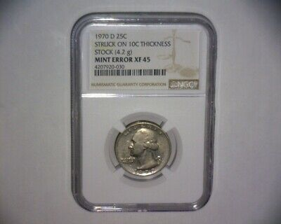 "1970 D Washington Quarter,  Struck On A ""Dime Stock""  >4.2 Grams< Us Error Coin"