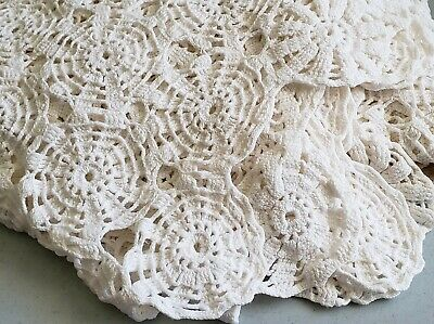 """Vintage Handmade Crochet Lace Tablecloth Bedtopper Throw or Decor 58""""x78"""""""