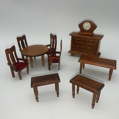 10 pcs Dollhouse Miniature Wood Table Chair Set Dining Room Furniture Clock Side