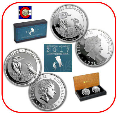 2017 Australia Silver Kookaburra BU & Proof 2-Coin Set with OGP & COA