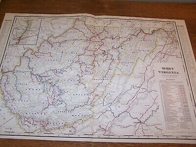 """1906 Geo. F Cram Railroad & County Color Map of West Virginia with Index 27""""x18"""""""