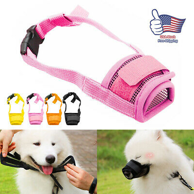 Adjustable Dog Muzzle Anti Stop Bite Barking Chewing Mesh Training Small Large