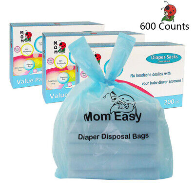 MOM EASY Baby Disposable Diaper Sacks Unscented Tie Handle Bags 600 Counts
