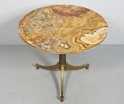 Vintage 60s Onyx Table Side Table Brass 2Z