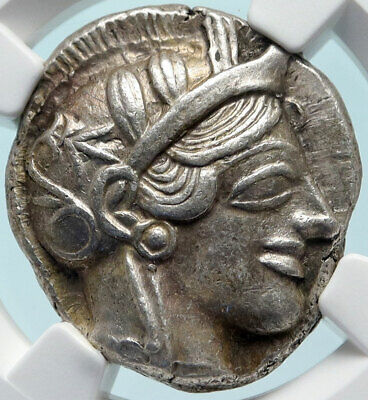 ATHENS Greece 440BC Ancient Silver Greek TETRADRACHM Coin Athena Owl NGC i83830