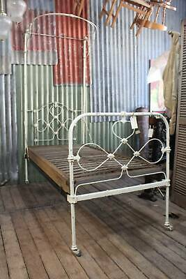 Victorian Cast Iron Half Tester Single Bed with Timber Base *FREE DELIVERY T&C's