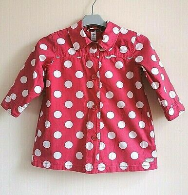 Jasper Conran Girls Long Sleeve Fully Lined Salmon Pink Spotted Coat ~ Age 5 yrs