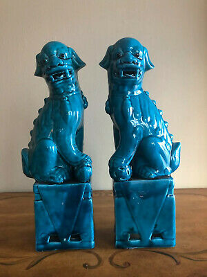 """Vintage Chinese Porcelain Turquoise Foo Dogs 13"""" - a Pair"""