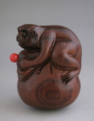 Lovely Chinese Old Huali Wood Hand Carved Monkey Snuff Bottle