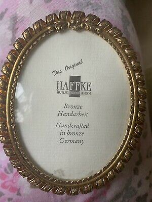 Haffke Bronze Handcrafted Gilt small photo frame 3.5 x 4 oval picture Germany