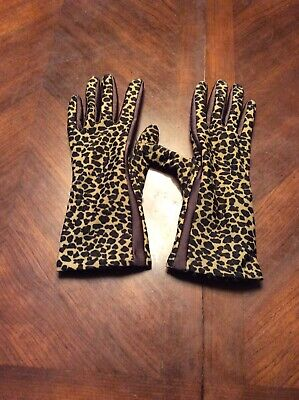 Leopard Print Womens Neoprene And Leather Gloves Size Medium Brand Tag Removed