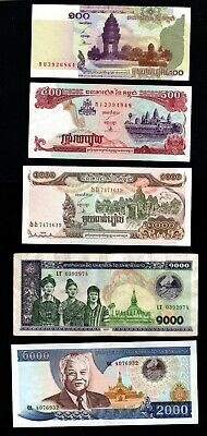 Cambodia - 100, 500, 1000, 1000, and 2000 Riels UNC / CIRC Banknotes (1997-2001)