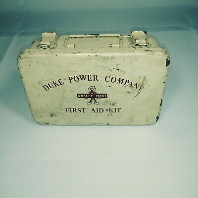 Vintage REDDY KILOWATT Safety First DUKE POWER COMPANY First Aid Kit w/Supplies