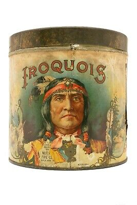 "Scarce 1910s ""Iroquois"" paper label  humidor 50 cigar tin in fair condition"