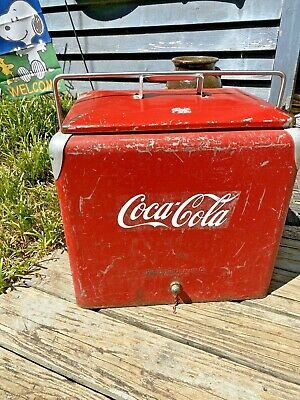 Vtg. Antique Metal Drink Cooler Bottle Opener w/ Tray Progress Refrigerator Co.