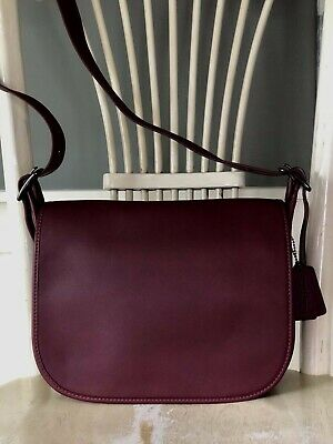 Coach 55298 Glove-tanned Leather Crossbody Saddle Bag $395 HTF Color  BERRY WINE