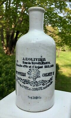 Decorative Antique French Ceramic Jar from Famous Paris Pharmacy: Cod Liver Oil