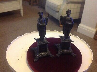 Unusual,victorian c1860,Cast Iron statues,high quality.Chinese man and woman.