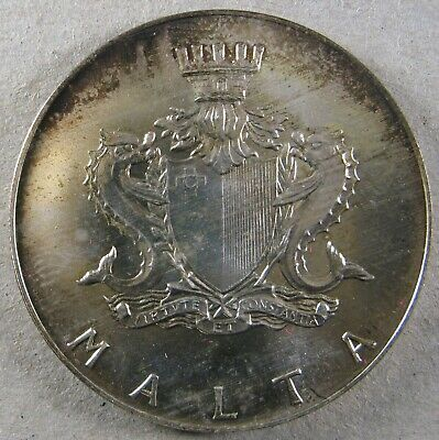 MALTA 1974 4 Pounds KM 25 Cottonera Gate Attractively Toned Choice Uncirculated