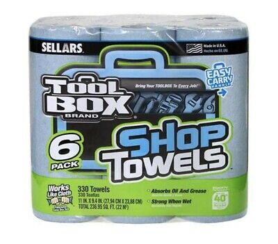 TOOLBOX Blue Shop Towels Sellars Roll Pack of 6 Pack For Mask Making NEW!!