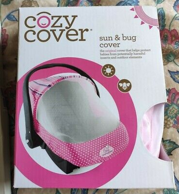 Cozy Cover - Sun & Bug Cover - Infant Carrier Cover - Dots & Stripes - Pink