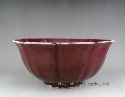 Huge Chinese Old Monochrome Ox-blood Red Glaze Porcelain Punch Bowl Mark