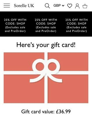Sorelle Gift Card/ Online Store Credit £36.99 Value