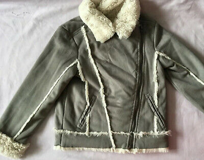 Girl's Grey Suede Faux Fur Lined Jacket by Autograph Marks & Spencer Age 6-7 Yrs