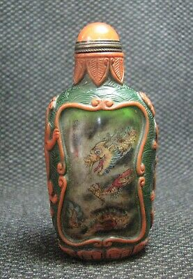 Chinese Glass Delicate Inside-drawing Dragons Snuff Bottle=**-
