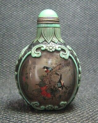 Chinese Glass Inside-drawing Persimmon And Magpie Snuff Bottle=**-