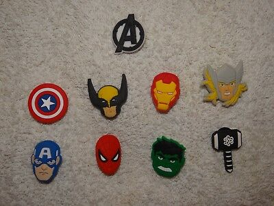 Super Hero Shoe Charms Plug Button Clogs Wristband Bracelet Accessories NEW
