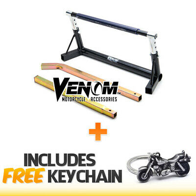 "Adjustable Motorcycle Pivot Center Lift Bar Stand 7"" to 10""+Cruiser Keychain"