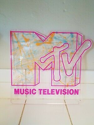 MTV Acrylic Sign, Mixed Neon On Acrylic, 1990s Music Television Acrylic Sign