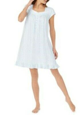 Eileen West Cap Sleeve Cotton Lace White with Aqua Stars Nightgown Gown
