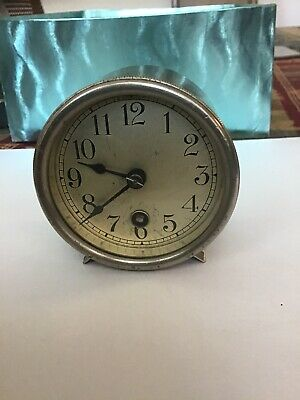 Antique Boston Clock Company 26792 B Round Nickel Clock Working With Key Windup