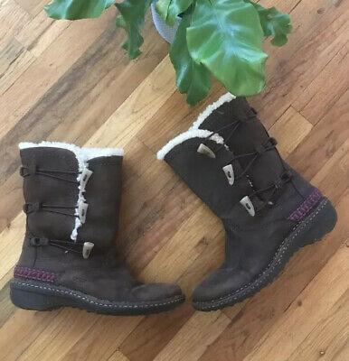 UGG Kona Brown Leather Shearling Boots Women's 7