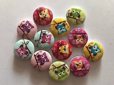 12 Bright Owls Mixed Owl Wooden Buttons -Sewing,Craft,Scrapbooking,Quilting