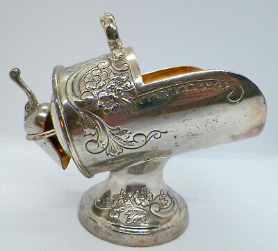 Vintage Japan Silverplate Sugar Bowl Scuttle with Scoop