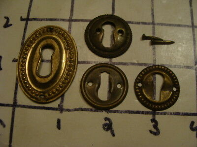 Vintage 4 not matching KEY HOLES for furniture -- OLD, ORIGINAL