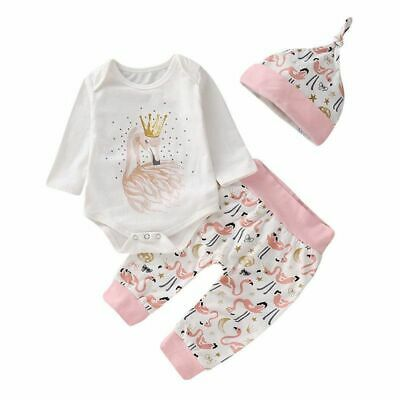 Newest Cotton Newborn Baby Girl Red Crowned Crane Rompers Long Pants Hats Outfit