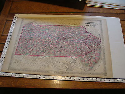 vintage map: 1864 Johnson's Atlas Large Map of NEW JERSEY & PENNSYLVANIA