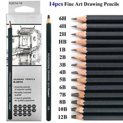 14x Sketch Pencil Drawing 6H-12B Art Tool Non-toxic Kit For Artists Students Uk