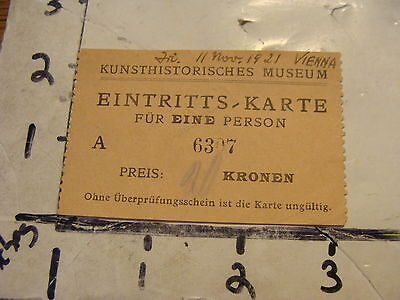Early Travel ticket: 1920's--KUNSTHISTORISCHES MUSEUM